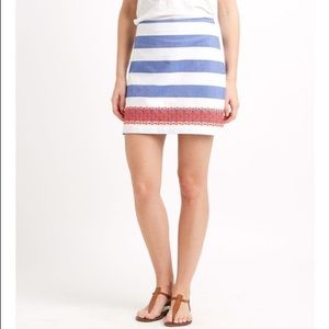 Blue white red striped embroidered cotton skirt
